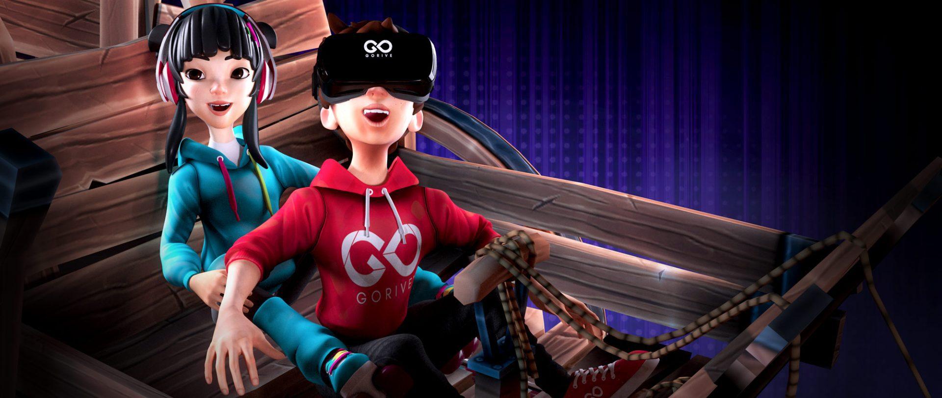 Des enfants en 3D dans un jeu video de la luge VR